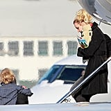 Britney Spears followed Jayden James off a plane at LAX.