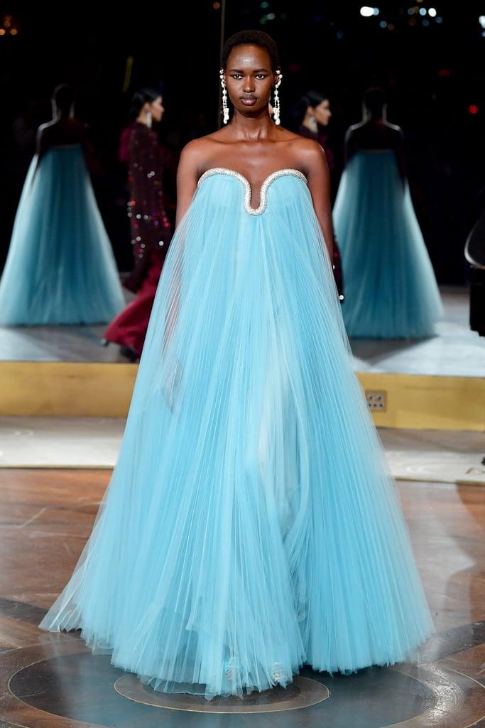 A Turquoise Gown on the Prabal Gurung Fall 2020 Runway at New York Fashion Week