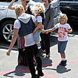 Gwen Stefani joked around with Zuma and Kingston Rossdale.