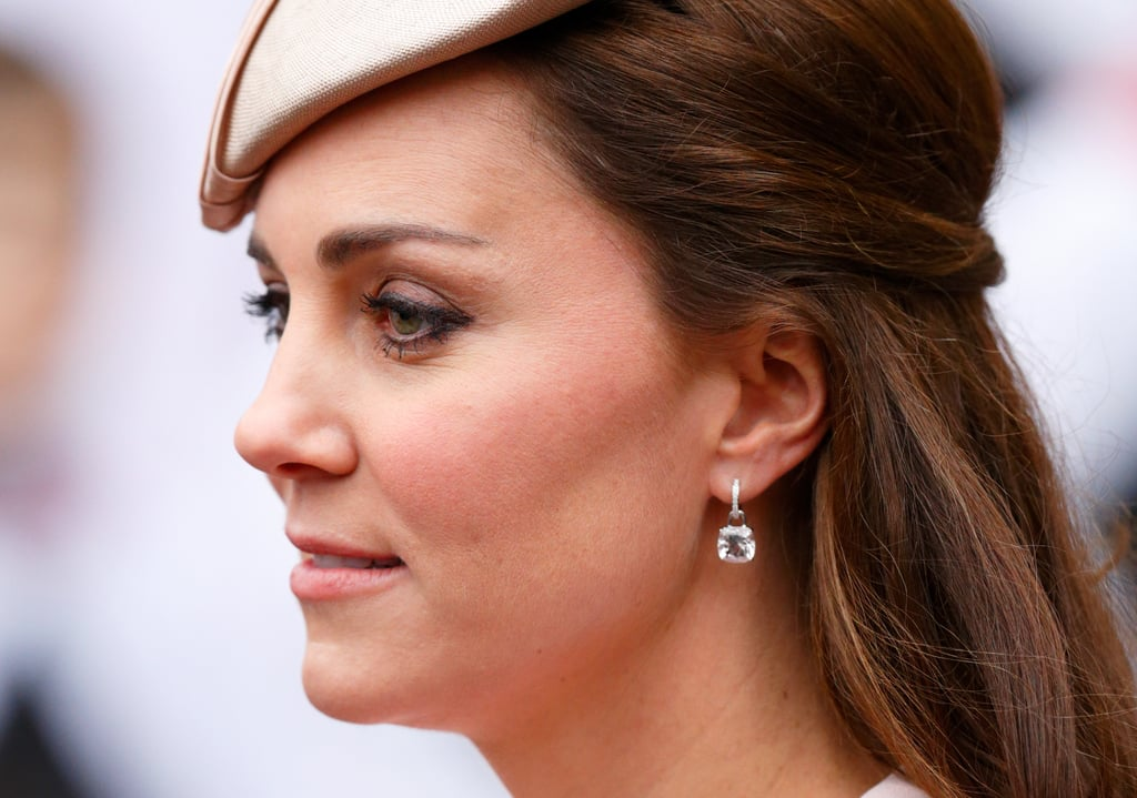 The latest Kiki sparklers that have been added to Kate's collection are the pale pink morganite classic cushion drop earrings which she wore the Commonwealth Service at Westminster Abbey in 2015.