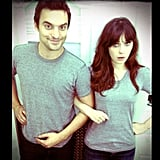 Zooey Deschanel and Jake Johnson agreed that great minds think alike. Source: Instagram user zooeydeschanel