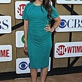 Mayim Bialik attended a party hosted by The CW, CBS, and Showtime.