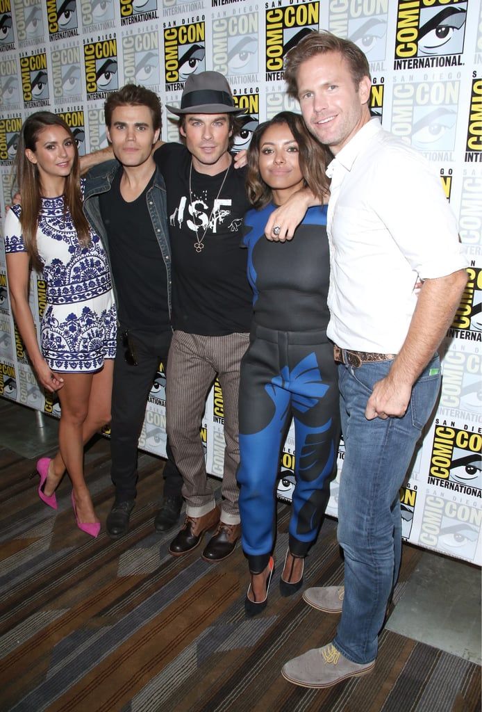 Nina Dobrev, Paul Wesley, Ian Somerhalder, Kat Graham, and Matthew Davis took group pictures at the Vampire Diaries event on Saturday.