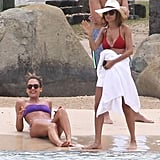 Jessica Alba and Nicole Richie both donned bikinis for a relaxing day on the beach during their getaway to St. Barts.