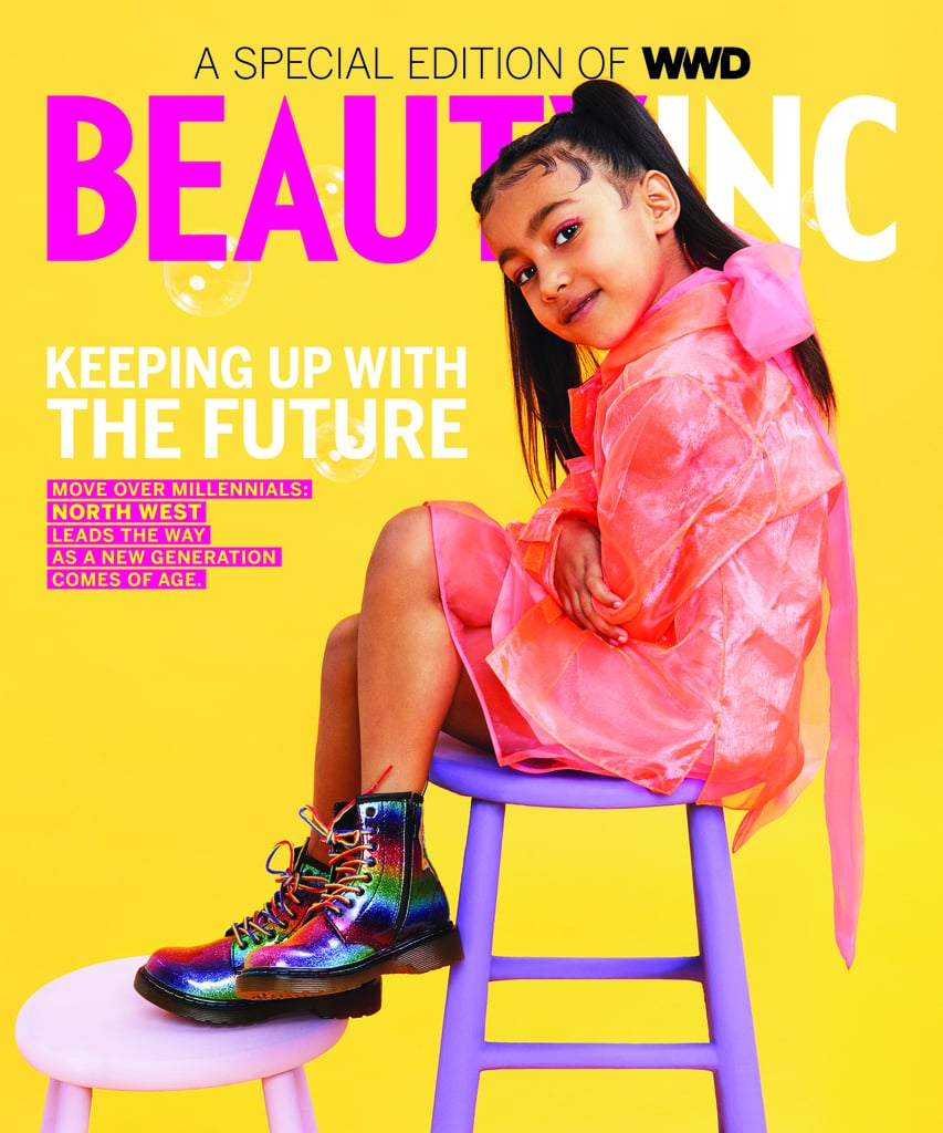"North West is a cover star! On Friday, WWD released Beauty Inc. magazine's issue that features the 5-year-old daughter of Kim Kardashian and Kanye West. The bright cover shows North posing on a purple stool, rocking a peach ensemble with rainbow combat boots and pigtails. ""Keeping Up With the Future,"" the front page reads, referring to the Kardashians' hit show Keeping Up With the Kardashians. North also shows off her modeling skills in a spread for the special issue. She sports a couple of fun outfits, including a purple metallic two-piece. Her accessorizing game is clearly up to par, too, as she stunts in a pair of red, geometric sunglasses. The magazine aims to bring attention to the up-and-coming age group Generation Z (those born in 1997 and after).  ""Without a public Instagram or YouTube channel of her own, she's too young to fully understand what a digital footprint is. And yet, hers is already wildly popular,"" Beauty Inc. wrote in regards to its young cover star. ""West, whether she knows it or not, is at the forefront of a generation that is highly connected, engaged with fashion and beauty and individualistic in style."" My only question: how exactly did North grow up so fast?! I mean, she's 5 years old and already starring on the cover of magazines. Granted, she's inherently very well-connected, but it feels like time has flown by since Kim first gave birth. Next thing we know, she'll be helping her mom run the KKW beauty brand. After all, we know she has a very particular interest in makeup. Ahead, see the photos from North's first-ever solo magazine cover and spread!      Related:                                                                                                           Warning: You're Not Ready For These 100+ Adorable Snaps of Kim and Kanye's Kids"