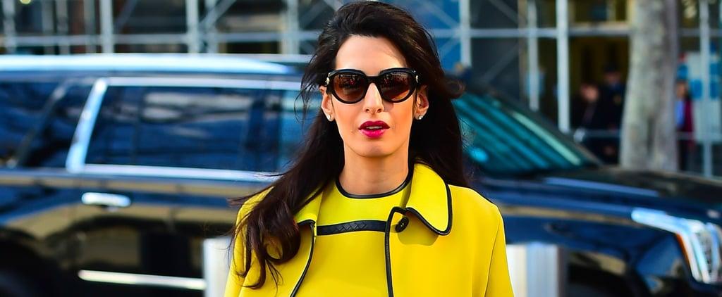 Amal Clooney's Yellow Bottega Veneta Dress March 2017