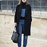 Overalls got a show-ready makeover with a classic coat and leopard footwear. Source: Le 21ème | Adam Katz Sinding