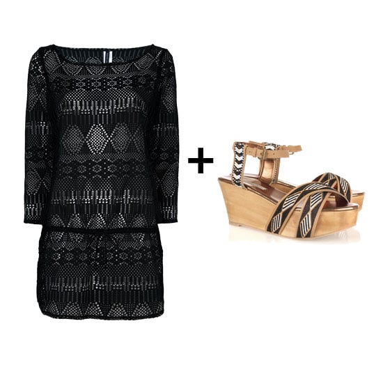 This crochet tunic is sexy without being too over the top for daytime. Pair this piece with a bright printed bikini and tribal-cool flatforms. Get the look:  Ralph Lauren Swim Tunic ($280) 12th Street by Cynthia Vincent Dabney Wedges ($133, originally $295)