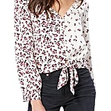 Paige Isadora Mixed Floral Tie-Front Blouse