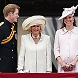 Pictured: Prince Harry, Camilla, Duchess of Cornwall, and Kate Middleton.