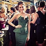 Girls star Allison Williams dressed in green for the big night. Source: Instagram user girlshbo