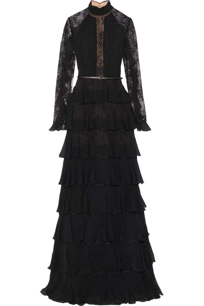 Elie Saab Tiered Ruffle-Trimmed Lace And Chiffon Gown