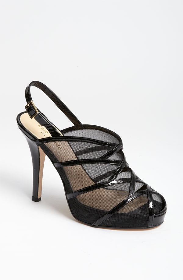 For the modern-meets-nonconformist bride (with a flair for darker hues, of course), try a mesh black sandal. We like that you get a sneak peek of skin so the shoe doesn't present too much of a dramatic accent. Kate Spade Rachael Black Mesh Platform Slingback Pump ($365)
