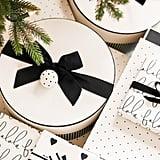 Sugar Paper Cream & Black Pinstripe Large Round Box