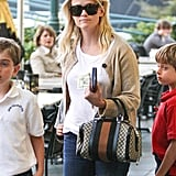 Reese Witherspoon wore a camel cardigan.