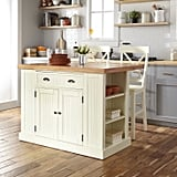 Nantucket Solid-Wood Top Kitchen Island and Counter Stools