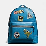 Space geeks will obsess over this League Backpack in glovetanned pebble leather with space patches ($795).