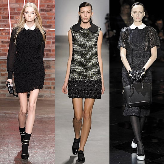 Peter Pan collars turned up all over the Fall 2011 runways. Here, versions from DKNY (right), Giambattista Valli (center), and Louis Vuitton.