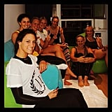 Stephanie Rice and some of her fellow swimmers watched the opening ceremony from their apartment. Source: Instagram user itsstephrice