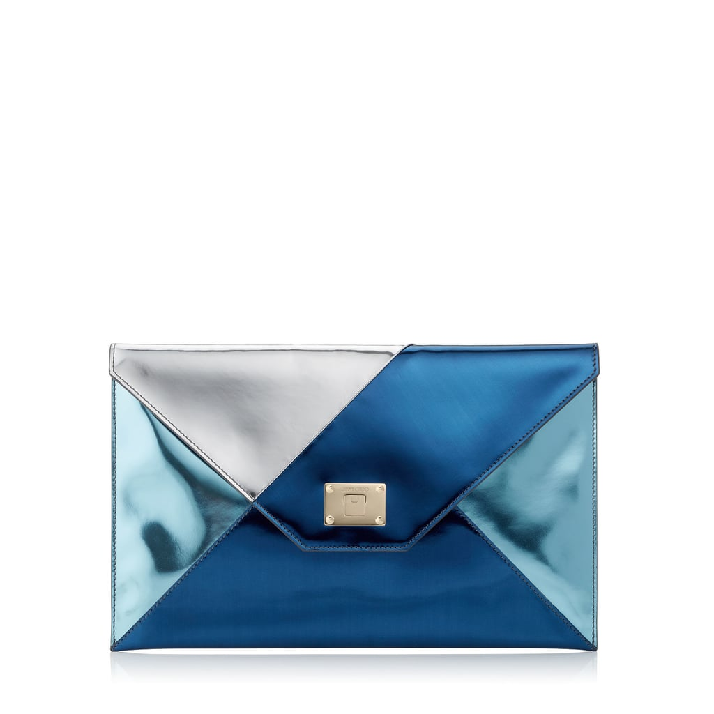 Jimmy Choo Rosetta Graphic Mirror Leather Patchwork Clutch Bag ($695)