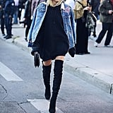 An Embroidered Denim Coat Over a Roomy Oversize Sweater and Suede Boots