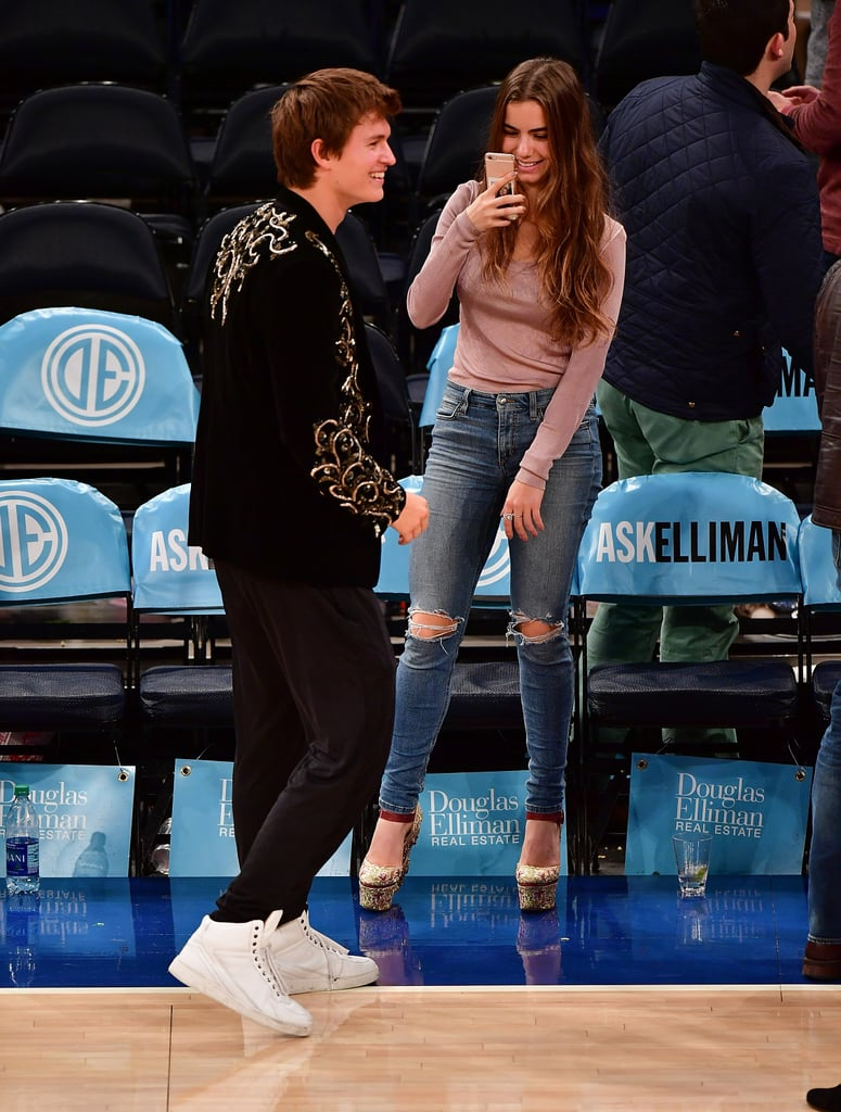 Ansel Elgort And Violetta Komyshan At Knicks Game Oct