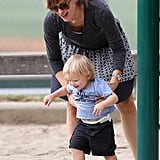 Jennifer Garner accompanied her son, Samuel, on the playground at a park in LA.