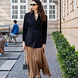 Autumn Outfit Idea: Blazer + Maxi Skirt + Flats