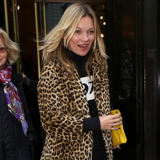 Kate Moss Wearing a Leopard Coat
