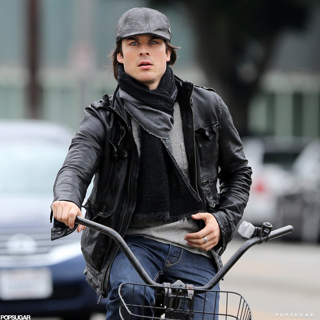 Ian Somerhalder Hops Off His Bike For a Manicure in Santa Monica