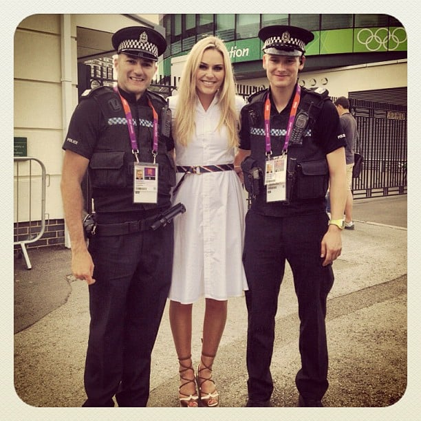 Lindsey Vonn posed for a photo with some of London's finest. Source: Instagram user lindseyvonn