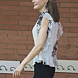 Queen Letizia Wearing a Floral Ruffled Top September 2016