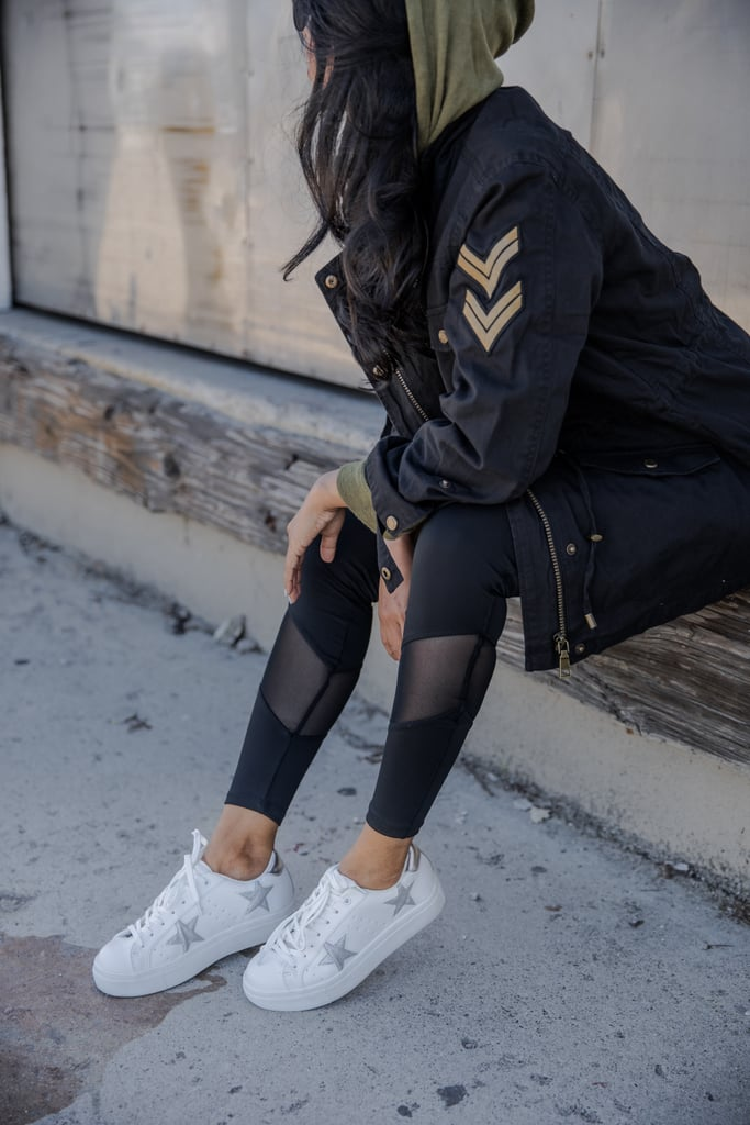 She finished the look with a pair of star-printed platform sneakers for a pop of graphic fun.    !function(doc,s,id){ var e, p, cb; if(!doc.getElementById(id)) { e = doc.createElement(s); e.id = id; cb = new Date().getTime().toString(); p = '//shopsensewidget.shopstyle.com/widget-script.js?cb=1487712501670?cb=' + cb; e.src = p; doc.body.appendChild(e); } if(typeof window.ss_shopsense === 'object'){ if(doc.readyState === 'complete'){ window.ss_shopsense.init(); } } }(document, 'script', 'shopsensewidget-script');