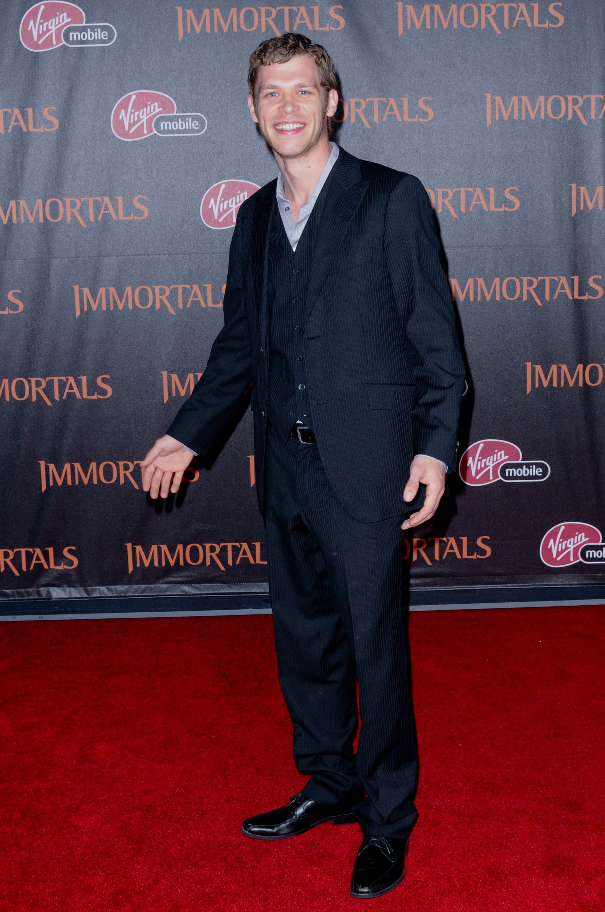Joseph Morgan arrived at the LA premiere of Immortals.