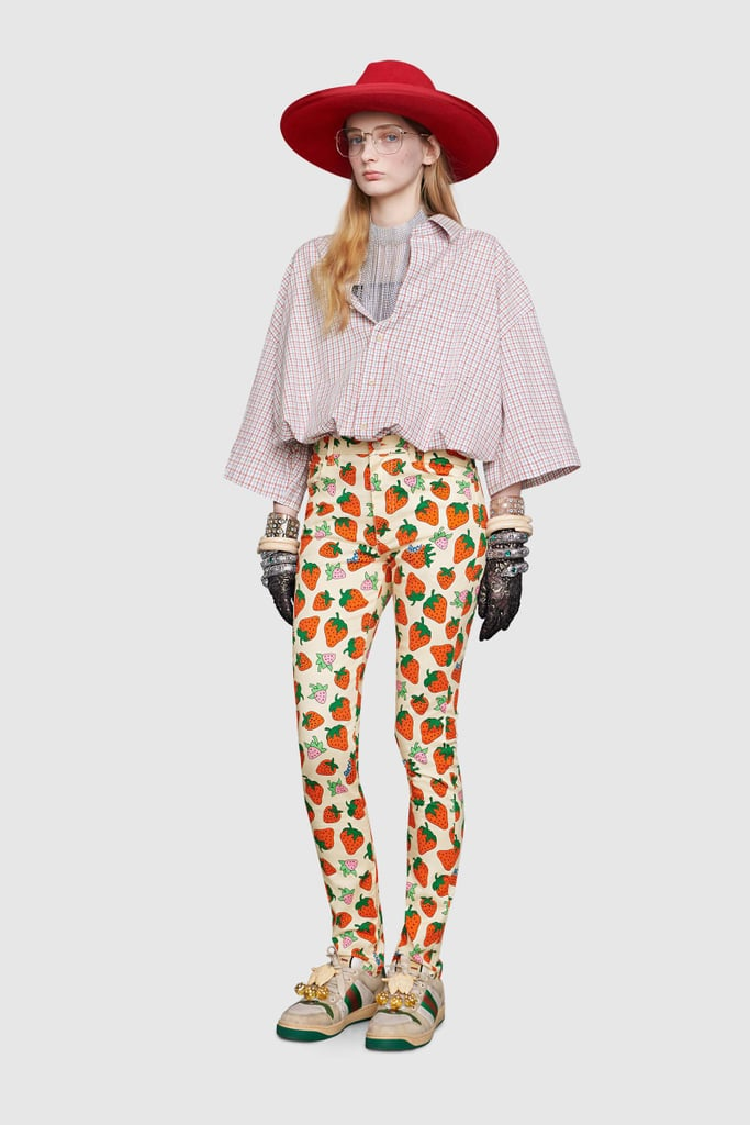 Gucci Skinny Pant With Gucci Strawberry Print