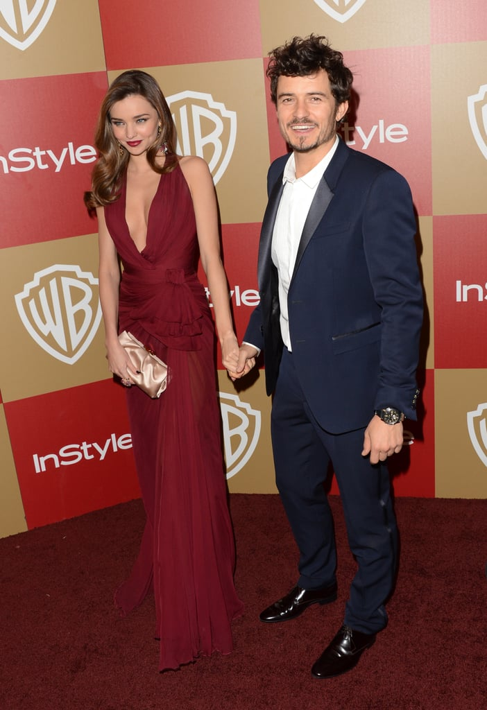 Miranda Kerr and Orlando Bloom held hands on the red carpet.