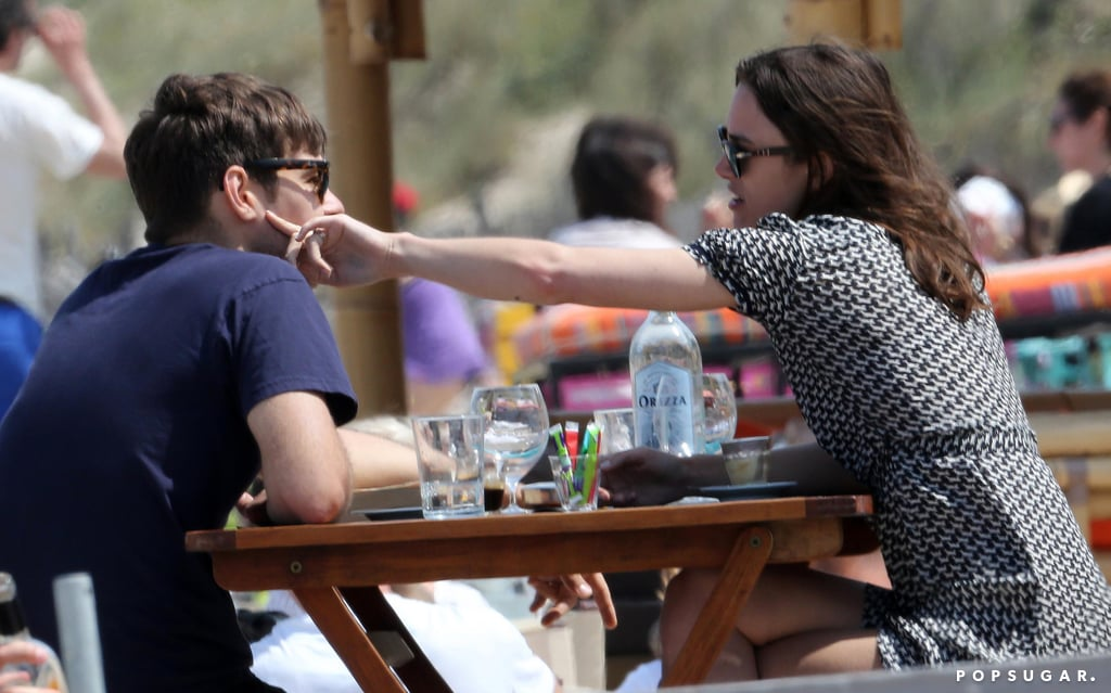 Keira Knightley reached out to touch James Righton.