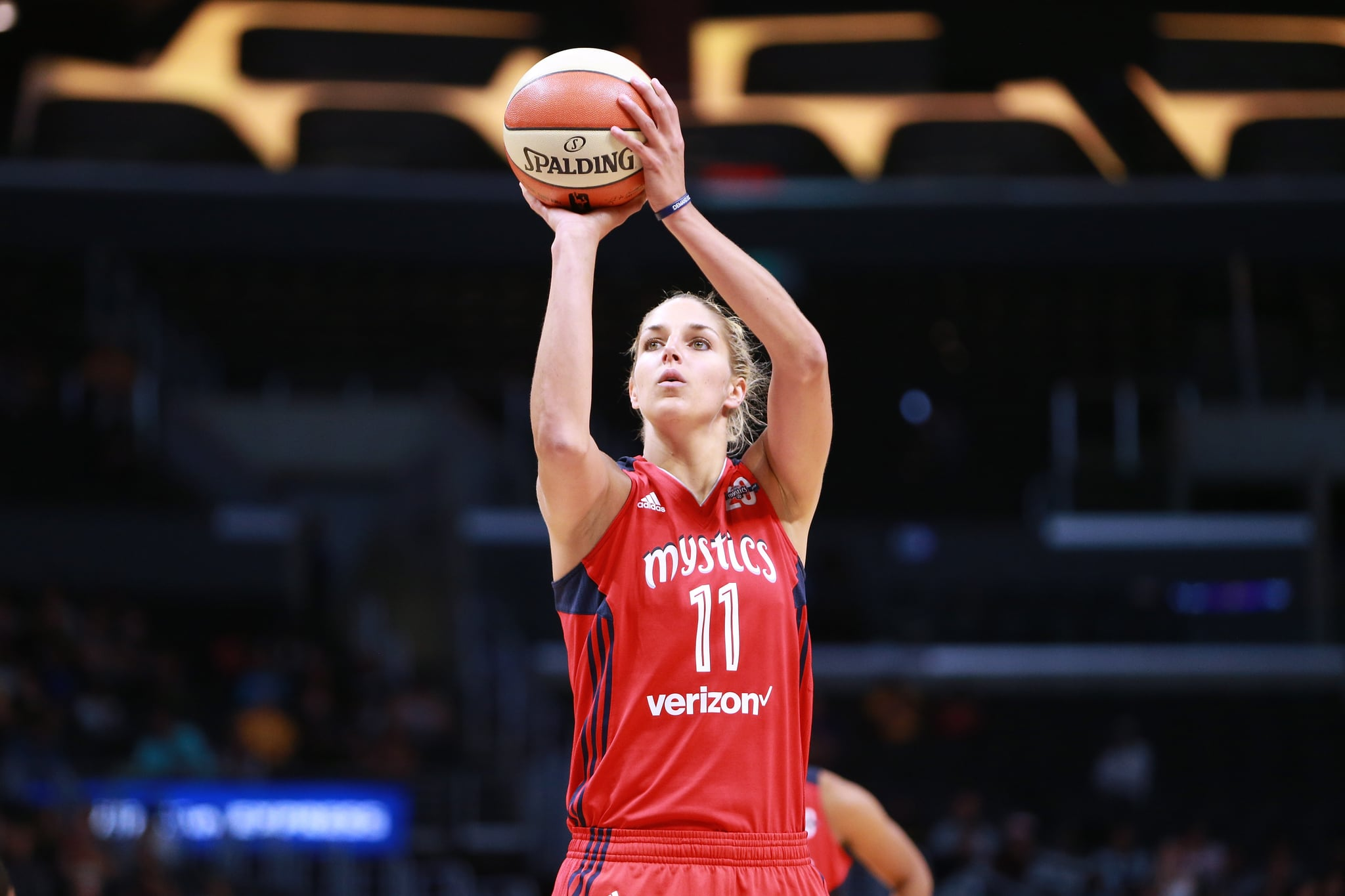 LOS ANGELES, CA - JULY 02:  Elena Delle Donne #11 of the Washington Mystics handles the ball against the Los Angeles Sparks during a WNBA basketball game at Staples Centre on July 2, 2017 in Los Angeles, California.  (Photo by Leon Bennett/Getty Images)