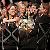 Angelina Jolie and Brad Pitt laughed.