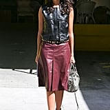 We're obsessed with her shades of leather — and once again Fall's oxblood hues.