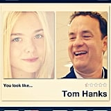 Elle Fanning found out that she resembles Tom Hanks. Source: Instagram user elle_fanning