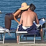 Jenna kissed her husband while vacationing in Italy in July 2010.