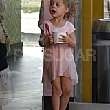 Harlow Madden enjoyed a snack before ballet class in LA.