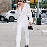 Gigi Also Wore a White Tamuna Ingorokva Jumpsuit With a Stalvey Bag