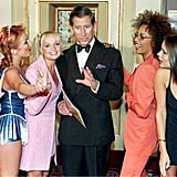 Prince Charles got a warm reception from the Spice Girls at the Prince's Trust concert in May 1997.