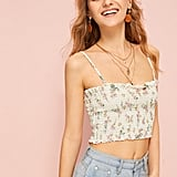 Shein Ditsy Floral Frill Trim Shirred Cami Top
