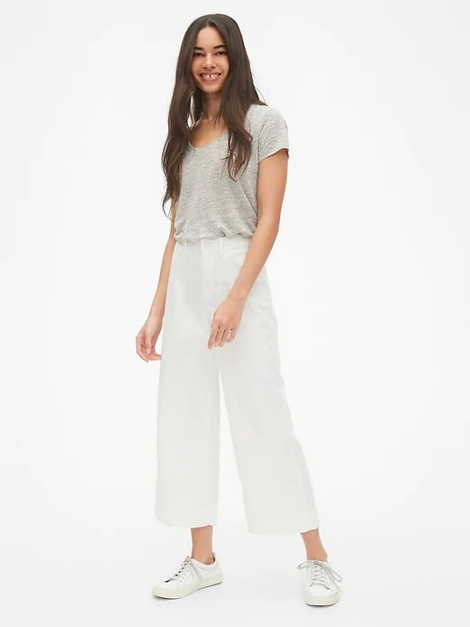High Rise Wide-Leg Crop Chinos in White