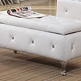 White Vinyl Upholstered Storage Bench