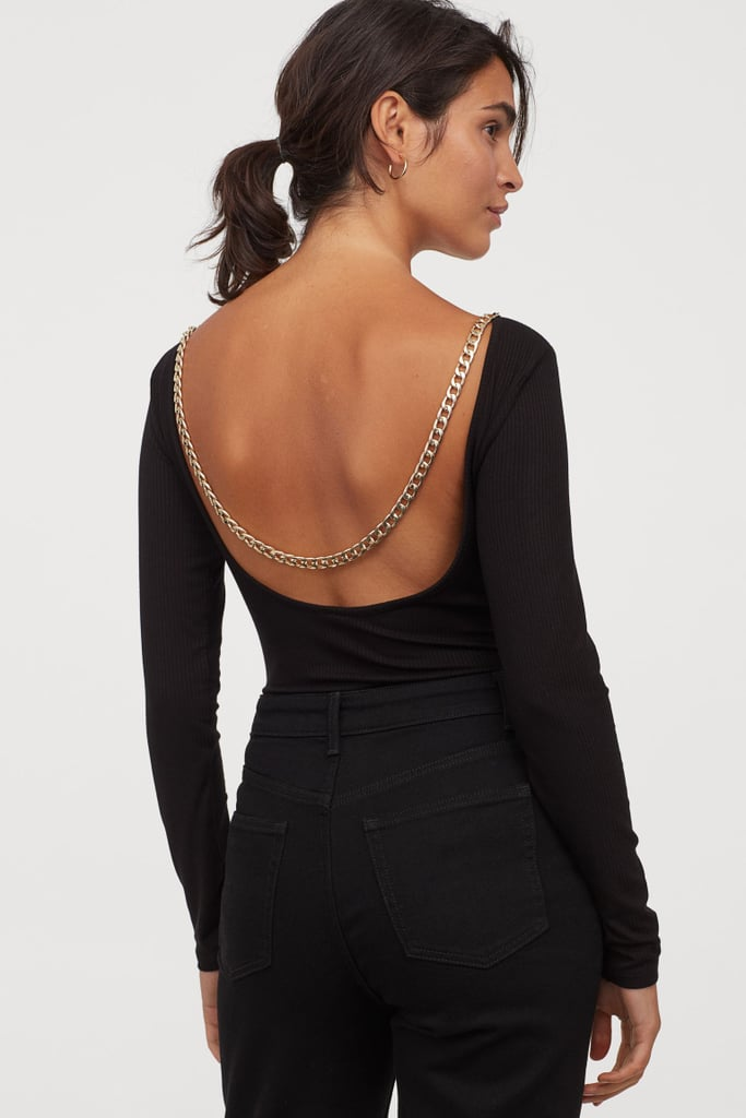 Ribbed Chain-Detail Bodysuit