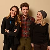 Jessica Alba posed with her A.C.O.D. pals Adam Scott and Amy Poehler during a portrait session at Sundance.